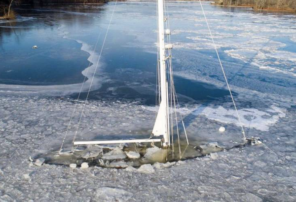 Sailboat Sunk in ice on CT River